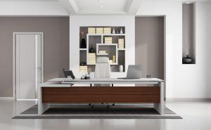 Desk with back to Door