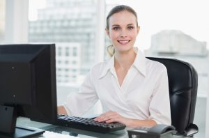 Woman at Desk with Window